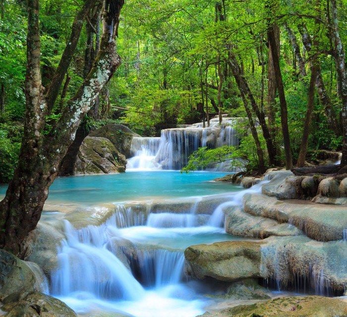 Pixerstick na Wszystko Erawan wodospad, Kanchanaburi, Tajlandia - Wodospady
