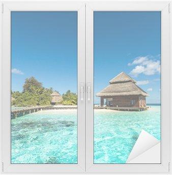 Fensteraufkleber Beach Villas auf kleinen tropischen Insel