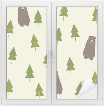 Fensteraufkleber Bear and forest seamless background.p