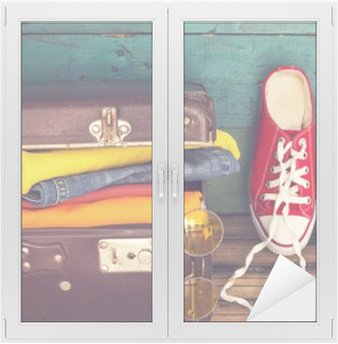 Fensteraufkleber Ferien Koffer