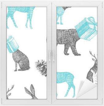 Fensteraufkleber Hand gezeichnet Winter Tiere nahtlose Hintergrundp