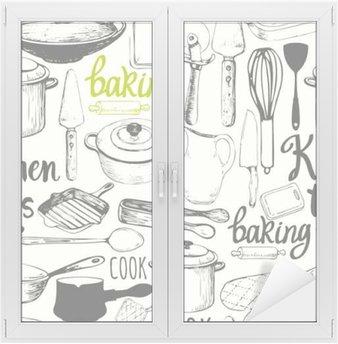 Fensteraufkleber Nahtlose Hintergrund mit Küchengeräten und Werkzeugen. Menü-Muster.