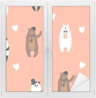 Fensteraufkleber Netter trägt Muster. Nahtlose romantischen Hintergrund mit Eisbär, Braunbär und Panda.p