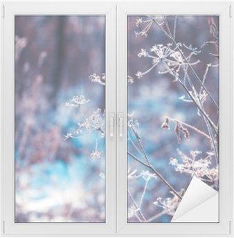 Fensteraufkleber Pflanzen, die mit Raureif bedeckt