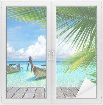 Fensteraufkleber Steg mit Blick auf das tropische Meerp