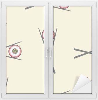 Fensteraufkleber Sushi und Stäbchen Vektor nahtlose Muster
