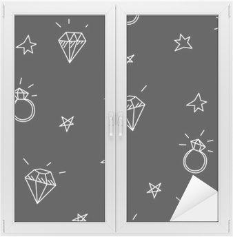 Fensteraufkleber Vektor nahtlose Muster mit Hochzeitsringen, Stars und Juwelen. Old school Tattoo-Elemente. Hipster-Stilp