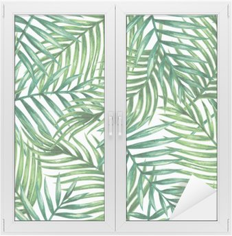 Fensteraufkleber Watercolor tropical palm leaves seamless pattern. Vector illustration.p