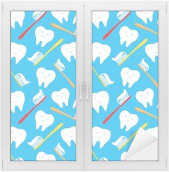 Fensteraufkleber Weiße Zähne und bunte Zahnbürsten.