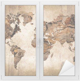 Fensteraufkleber Weltkarte aus Holz im Vintage-Stil