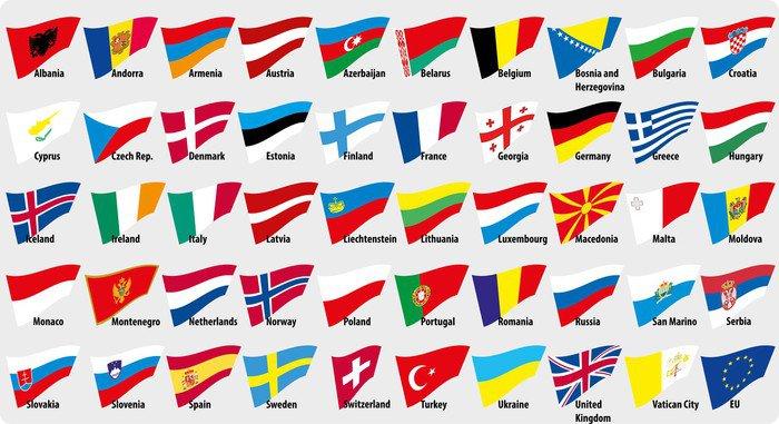 Obraz na Płótnie Flagi państw europejskich - Azja