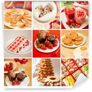 Vinyl Fotobehang Aardbei taart aardbei wafels Desserts taart cupcakes taart