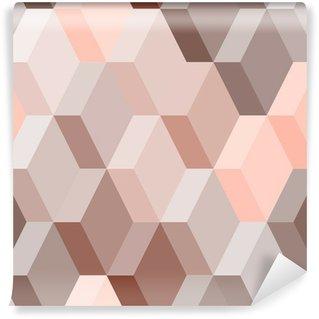 Vinyl Fotobehang Abstract geometrische naadloos patroon in roze en bruin, vector