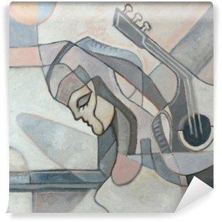 Vinyl Fotobehang Abstract schilderij met Vrouw en Gitaar