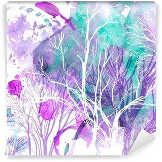 Vinyl Fotobehang Abstract silhouet van bomen
