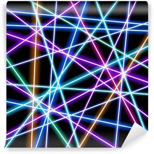 Vinyl Fotobehang Abstract vector achtergrond, meer gloeiende lijnen, meetkunde, technologie, neon behang