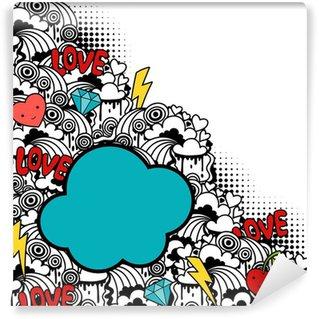 Vinyl Fotobehang Abstracte achtergrond met leuke kawaii doodles.