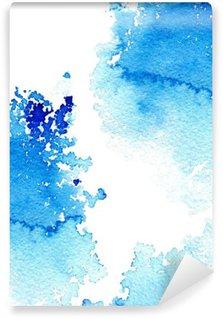 Vinyl Fotobehang Abstracte donker blauwe waterige frame.Aquatic backdrop.Ink drawing.Watercolor handgetekende image.Wet splash.White achtergrond.