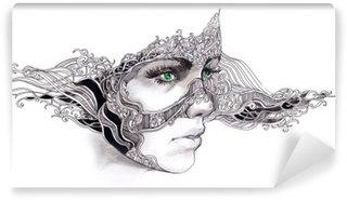 Vinyl Fotobehang Abstracte vrouw gezicht