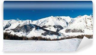 Vinyl Fotobehang Alpen winter panorama van Livigno, Italië