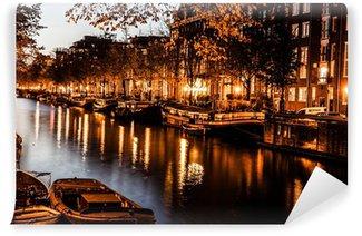 Vinyl Fotobehang Amsterdam bij nacht, Nederland