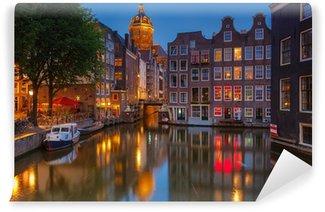 Vinyl Fotobehang Amsterdam bij nacht