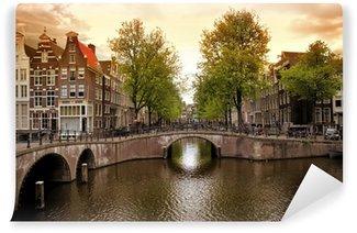 Vinyl Fotobehang Amsterdamse grachten