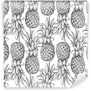 Vinyl Fotobehang Ananas naadloos patroon