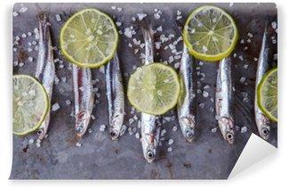 Vinyl Fotobehang Ansjovis Fresh Marine Fish.Appetizer. selectieve aandacht.