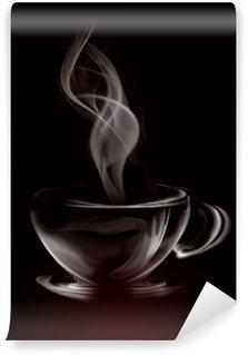Vinyl Fotobehang Artistieke Illustratie Rook Kopje Koffie op zwart