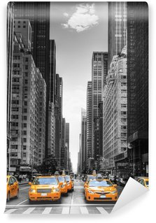 Vinyl Fotobehang Avenue avec des taxis à New York.