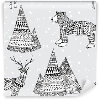 Vinyl Fotobehang Beer, herten en de bergen hand getekende winter patroon