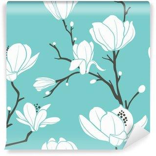 Vinyl Fotobehang Blauw magnoliapatroon