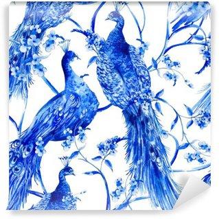 Vinyl Fotobehang Blauwe aquarel bloemen uitstekend naadloos patroon met pauwen