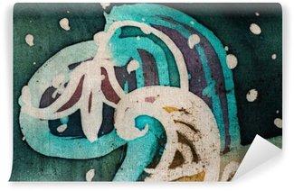 Vinyl Fotobehang Bloem, heet batik, achtergrond textuur, met de hand gemaakt op zijde, abstracte surrealismekunst
