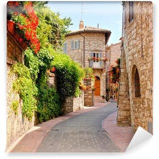 Vinyl Fotobehang Bloemen omzoomde straat in het centrum van Assisi, Italië
