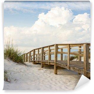 Vinyl Fotobehang Boardwalk in de Beach Sand Dunes