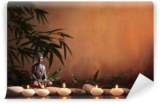 Vinyl Fotobehang Boeddha met brandende kaars en bamboe