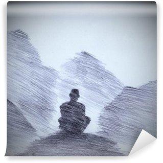 Vinyl Fotobehang Boeddhistische monnik in de bergen