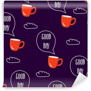 Vinyl Fotobehang Breakfast naadloos patroon. Vector illustratie met tekst wolken en kopjes koffie