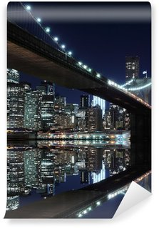 Vinyl Fotobehang Brooklyn Bridge en Manhattan Skyline At Night, New York
