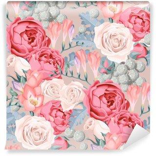 Vinyl Fotobehang Bruiloft bloemen naadloos