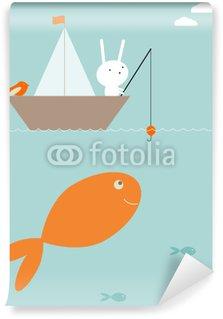 Vinyl Fotobehang Bunny verrassing vissen