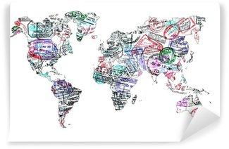 Vinyl Fotobehang Carte du monde tampons de passeport, isole