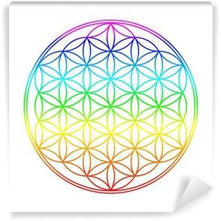 Vinyl Fotobehang Chakra Farben Blume des Lebens