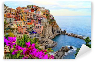 Vinyl Fotobehang Cinque Terre kust van Italië met bloemen