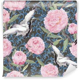 Vinyl Fotobehang Crane vogels, pioenrozen. Bloemen herhalen chinese patroon. Waterverf