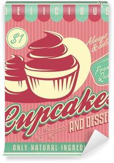 Vinyl Fotobehang Cupcakes vintage poster ontwerp op gekrast grunge achtergrond