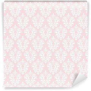 Vinyl Fotobehang Damast naadloze patroon achtergrond in pastel roze.