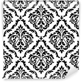 Vinyl Fotobehang Damast zwart-wit bloemen naadloos patroon